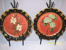 Lily & Hydrangea Red and Black Plates - Black & Gold Ornate Edge Trim by IMAX