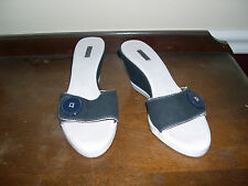 LACOSTE Navy/White Cloth Wedge Slides - Size 7