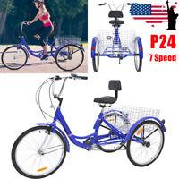 24'' Adult Tricycle 7 Speed 3 Wheel Bikes Shopping Bicycle Blue Trike W/ Basket