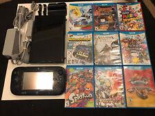 Nintendo Wii U 32 GB Black Console w/ 9 Games! RARE! WORKS GREAT!