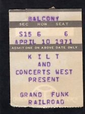 1971 Grand Funk Concert Ticket Stub Closer To Home I'm Your Captain