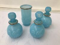 Vintage Avon Sonnet Cologne Empty Bottles Bristol Blue Round Ball Glass Set Of 4