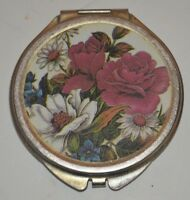 Compact Size Double Mirror with Flower Design