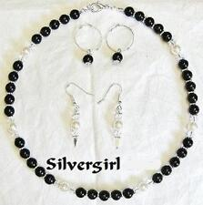 Basic Black and White Glass Pearl Necklace and Earrings Set