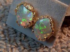 14K SOLID Yellow Gold Nugget Earrings 8x10 mm Australian Fire Opal New