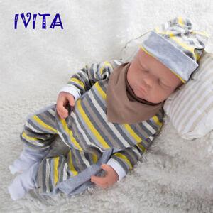 18.5'' Silicone Reborn Baby Eyes Closed Sleeping Lifelike Silicone Doll Infant