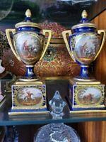 Pair of Antique Royal Vienna Porcelain Gold Urns