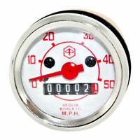 VESPA V50 V90 V100 VEGLIA SPEEDOMETER 50 MPH RED FACE WITH BULB