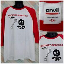 Ratchet Robotics 6590 2X Cotton 3/4 Sleeve T-Shirt Red White     H28