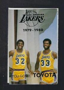 VINTAGE 1979-80 LOS ANGELES LAKERS BASKETBALL POCKET SCHEDULE MAGIC ROOKIE DEBUT