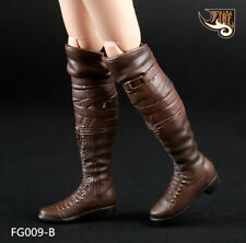 Fire Girl Toys 1/6 Female Brown Long Boots Shoes F Removable Feet Girl Body