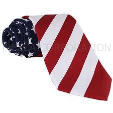 NEW Men's Polyester Novelty american flag stars print neck tie red white blue