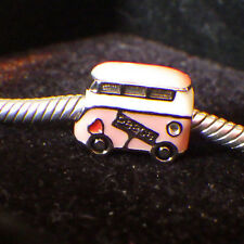 CHAWIN 925 SILVER PINK PAINTED ENAMEL 1970'S VW PEACE BUS EUROPE CHARM
