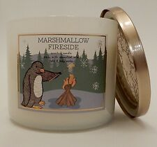 BATH & BODY WORKS MARSHMALLOW FIRESIDE SCENTED 3 WICK CANDLE BLACK LID 14.5oz