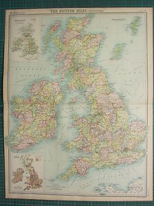 1921 LARGE MAP ~ BRITISH ISLES POLITICAL INDUSTRIAL POPULATION AGRICULTURAL