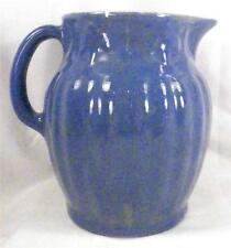 Antique Blue & Gray Stoneware Pitcher Jug Reglued Chip As Is Condition Display