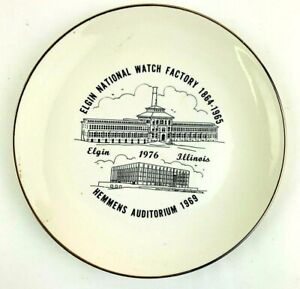 Elgin Watch Factory Decorator Plate 10 in Vintage 1976 Issue Wall Decor Hanging