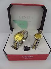 Geneva Men's & Women's Two Tone Gold Tone Dial Classic Collection Watch Set G-40
