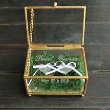 Personalized Glass Ring Box, Custom Wedding Ring Bearer Box, Glass Ring Holder