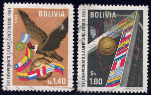 1963 Bolivia SC# C247-C248 - F - Condor, Soccer Ball and Flags - Used