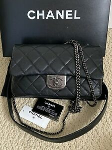 NWT Chanel Double Carry Black Quilted Goatskin Chain Classic Flap Crossbody Bag