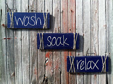 "Handmade Wooden Bathroom Sign.....""Relax, Wash, Soak""...Great Housewarming Gift"