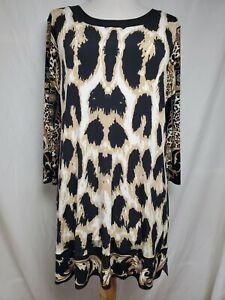 Eva Varro Tunic Top Sz XL Stretchy Jersey Knit Animal Status Print 3/4 Sleeve