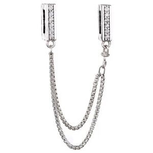 Sparkling Safety Chain REFLEXIONS Charm & Gift Pouch - Sterling Silver S925