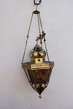 Vintage religious church candle lamp lantern brass amber glass crucifix theme ha