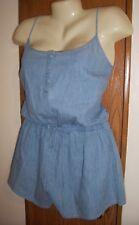 XL shorts romper blue denim adjustable straps 15 17 tie waist stretch lounge