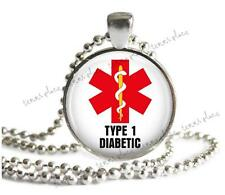 Type 1 Diabetic Medical Alert Necklace Glass Top Pendant Silver Setting & Chain