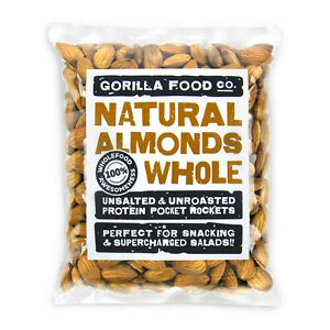 Gorilla Food Co. Natural Almonds Whole Raw - 200g (Great value £ per 1kg)