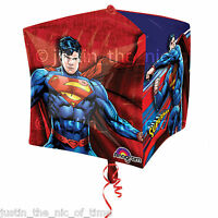 """SUPERMAN Boys Birthday Party Helium Cubez FOIL BALLOON 15"""""""
