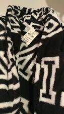 Victoria's secret PINK Plush Robe Iconic Black White Logo Holiday XS S