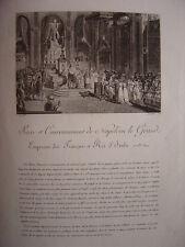 Gravure Sacre et couronnement de NAPOLEON Le Grand Empereur Napoléon Bonaparte