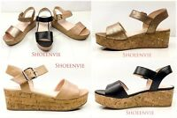 New Women Orchis Platform Cork Wedge Single Band Side Buckle Ankle Strap Sandal