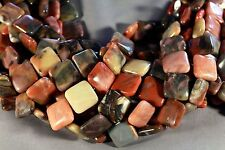"COLORFUL PETRIFIED RAINBOW WOOD CHALCEDONY AGATE 20MM SQUARE BEADS 16"" STRAND"