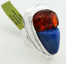 GENUINE 8.12 Cts LAPIS LAZULI & AMBER RING .925 Sterling Silver * 19.21 Gs *NWT