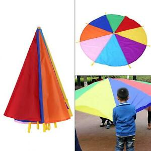 2m Diameter Kid Children Play Outdoor Teamwork Game Parachute Colorful Toy Gifts
