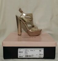 "Kurt Geiger Carvela ""Gleam"" Shoes RRP£120 Uk Size 7 Gold Nude Strappy High Heels"