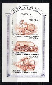 ANGOLA 1997, LOCOMOTIVES, TRAINS, RAILWAYS, Scott 989E SOUVENIR SHEET, MNH