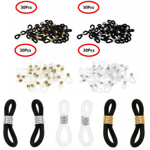 30 Rubber Connectors Ends Eyeglass Glasses Spectacles Holder Repair Chain Cord