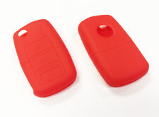 RED SILICONE KEY FOB COVER FOR VOLKSWAGEN VW 3 BUTTON REMOTE FOLDING FLIP