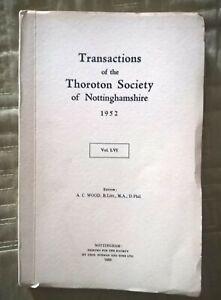 Transactions of THE THOROTON SOCIETY of Nottinghamshire  1952 .