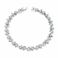 Silver Tennis Bracelet with CZ Crystals Stackable