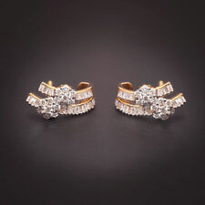 Pave 1.53 Cts Round Brilliant Cut Diamonds Stud Earrings In Fine 14K Yellow Gold