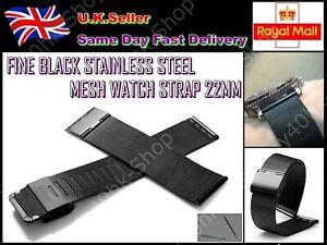 FINE BLACK /SLIVER STAINLESS STEEL MESH WATCH STRAP 20MM/22MM THIN/SOFT