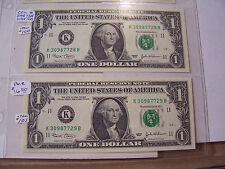 FANCY ONE DOLLAR FEDERAL RESERVE NOTE 2003 CONSECUTIVE SERIAL NUMBERS 7728 7729