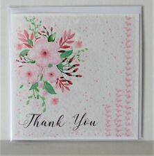 "Thank you card, 6"" x 6""cm white card, blank, Thank you Greeting Card, Handmade"