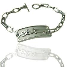 Bracciale donna Baci&Abbracci in acciaio satinato con targa e chiusura a t